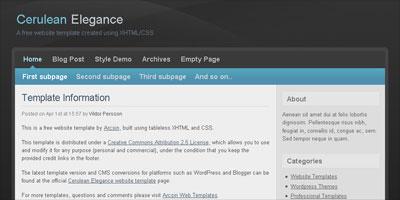 Free Website Template: Cerulean Elegance - Arcsin Web Templates