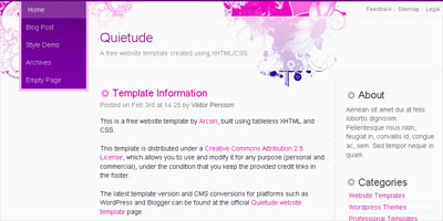 free blogger template quietude arcsin web templates