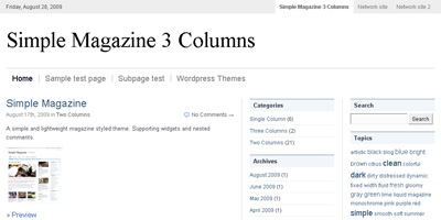 WordPress Theme: Simple Magazine (3 columns)