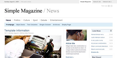 Free Website Template: Simple Magazine - Arcsin Web Templates